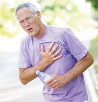 Man with heavy mouth breathing during exercise