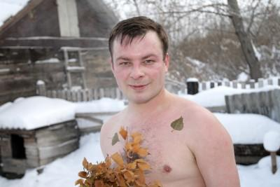 Man after swimming in winter